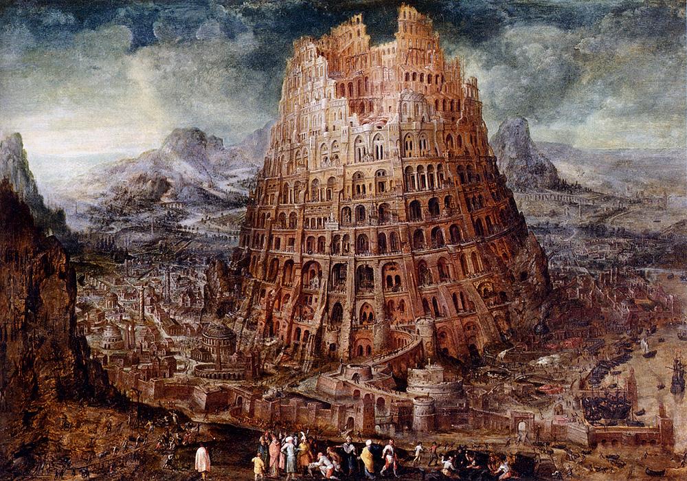 A képen Bábel tornya látható, mely arra utal, hogy a megértés akadálya a nyelvek kuszaságaakadályar